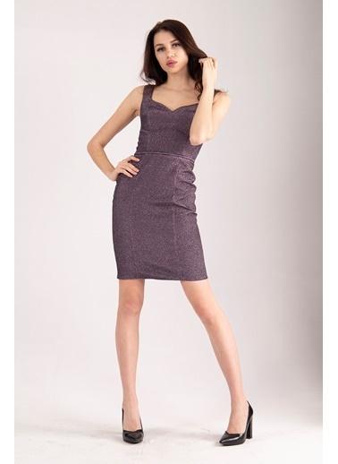 Belamore  Violet Kalın Askılı U Yaka Arkası Ipli Simli Kumaş Abiye & Mezuniyet Elbisesi 1608155.273 Renkli